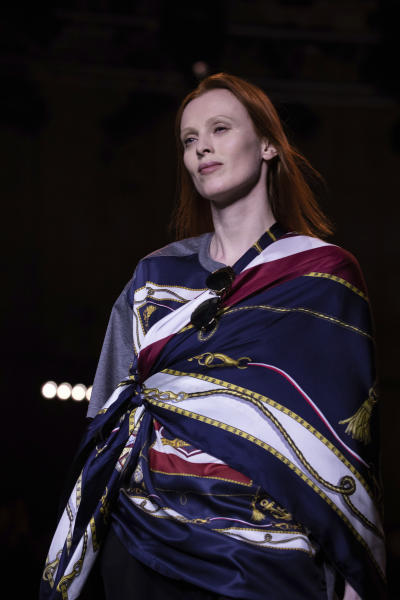 A model wears a creation by designer Tommy Hilfiger at the Autumn/Winter 2020 fashion week runway show in London, Sunday, Feb. 16, 2020.(Photo by Vianney Le Caer/Invision/AP)