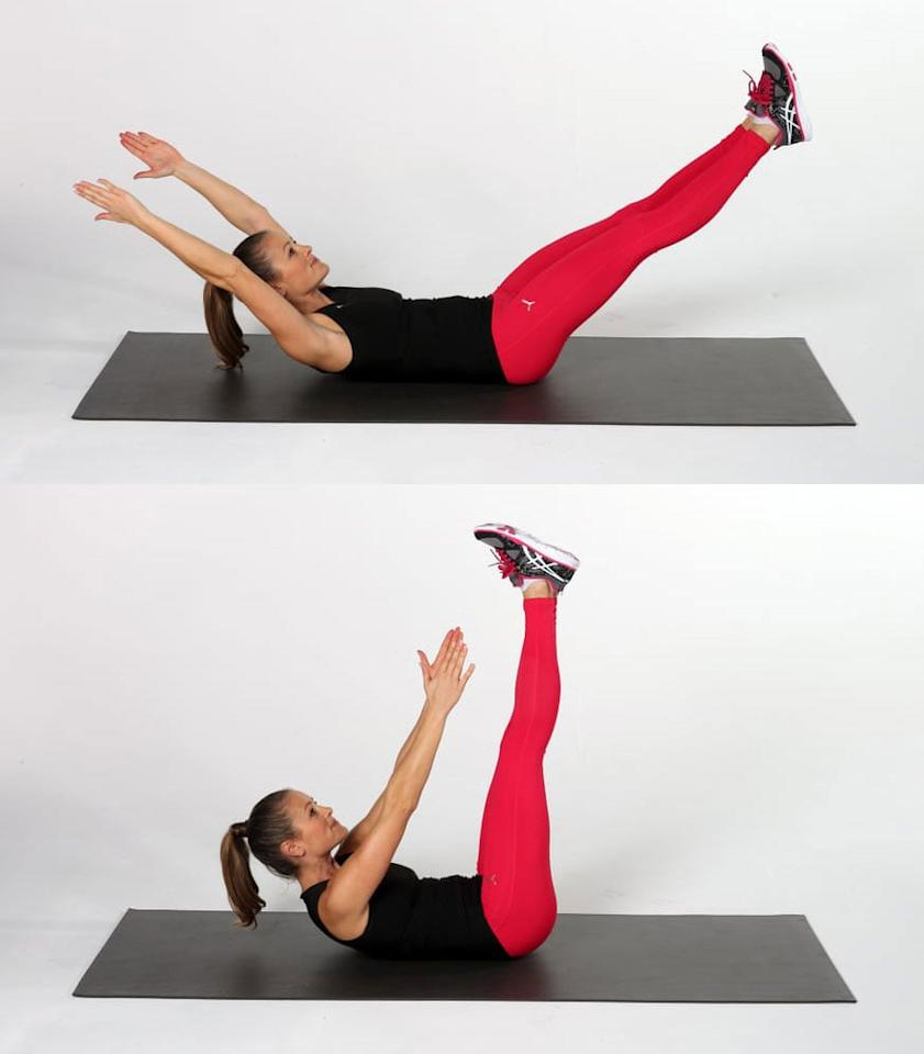 <ul> <li>Lie on your back, with your legs and arms extended above the floor. </li> <li>Lift your upper back off the floor, reaching your hands toward your feet with straight legs.</li> <li>This complete one rep.</li> <li>Do as many V-ups as you can in 40 seconds. Rest for 20 seconds.</li> </ul>