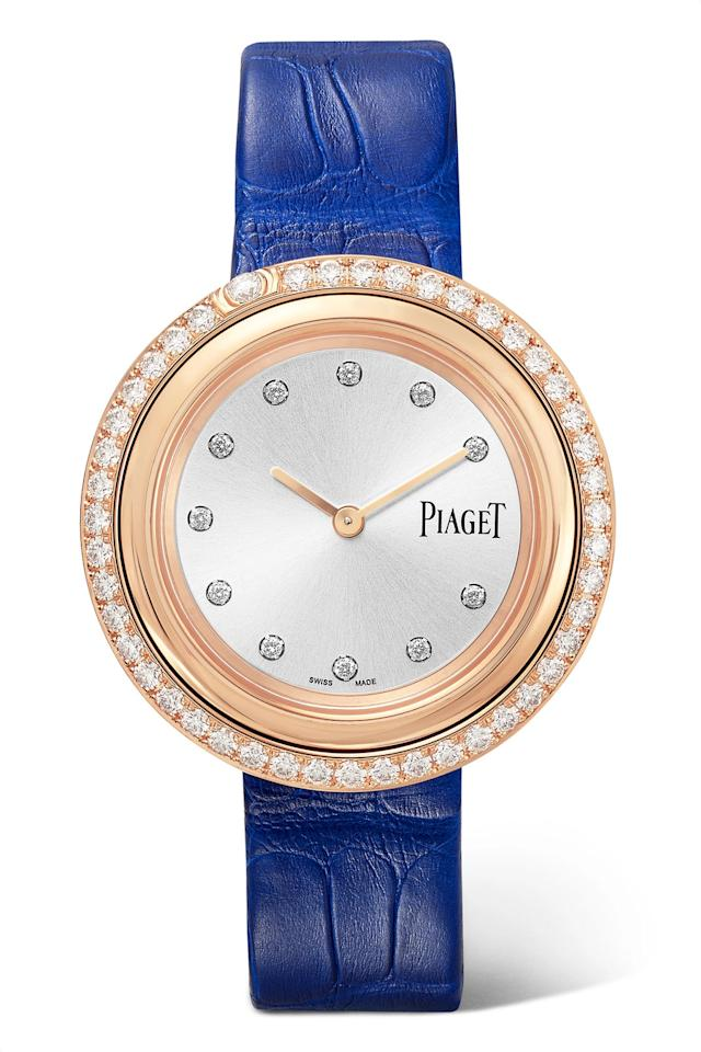 "<p><strong>Piaget</strong></p><p>net-a-porter.com</p><p><strong>$16100.00</strong></p><p><a href=""https://go.redirectingat.com?id=74968X1596630&url=https%3A%2F%2Fwww.net-a-porter.com%2Fus%2Fen%2Fproduct%2F1114233&sref=http%3A%2F%2Fwww.townandcountrymag.com%2Fstyle%2Fjewelry-and-watches%2Fg22565958%2Fbest-watches-for-women%2F"" target=""_blank"">Shop Now</a></p><p>With a rose gold frame and a whopping 1.55 carats of diamonds throughout, Piaget's Possession watch is the perfect middle ground between timepiece and jewelry. The lapis blue strap is interchangeable, too, so you can choose what type of band to wear it with.</p>"