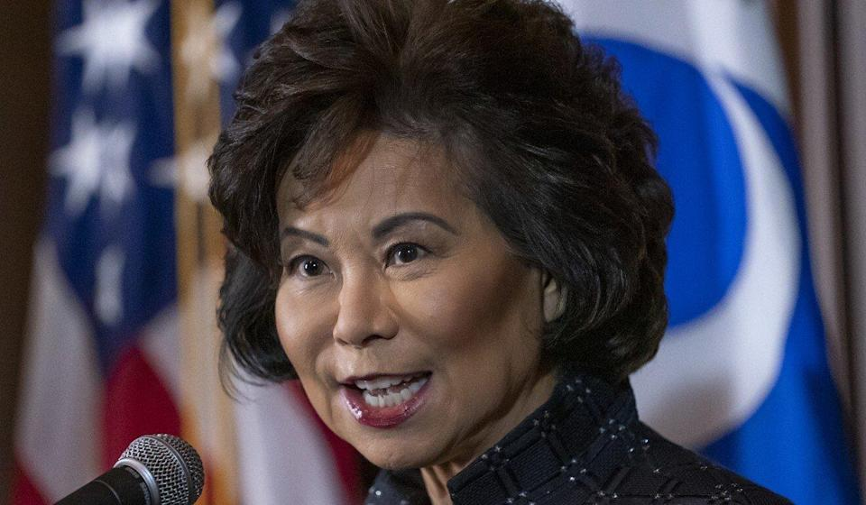 Elaine Chao was transportation secretary under Donald Trump until she resigned on January 7. Photo: AP