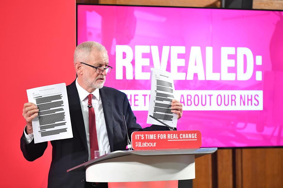 Labour leader Jeremy Corbyn holds a redacted copy of the Department for International Trade's UK-US Trade and Investment Working Group readout as he delivers a speech about the NHS, in Westminster, London.