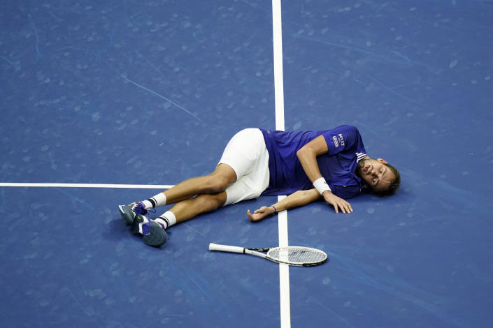 Daniil Medvedev, of Russia, reacts on the court after defeating Novak Djokovic, of Serbia, during the men's singles final of the US Open tennis championships, Sunday, Sept. 12, 2021, in New York. (AP Photo/Seth Wenig)