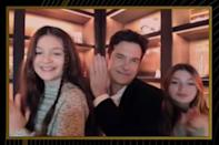 <p>Bateman was joined by his lookalike daughters, Francesca and Maple. </p>