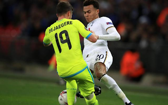 <span>Alli was shown a straight red card for a horror tackle against Gent</span> <span>Credit: Mike Egerton/PA Wire </span>
