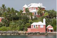 <p>A claylike pink brings a warmth to the green surroundings in Bermuda.</p>