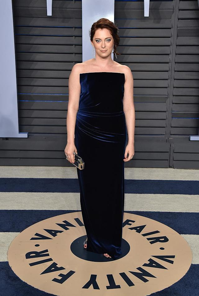 <p>The <em>Crazy Ex-Girlfriend</em> star lent her support to one of the evening's biggest trends: velvet. (Photo: John Shearer/Getty Images) </p>