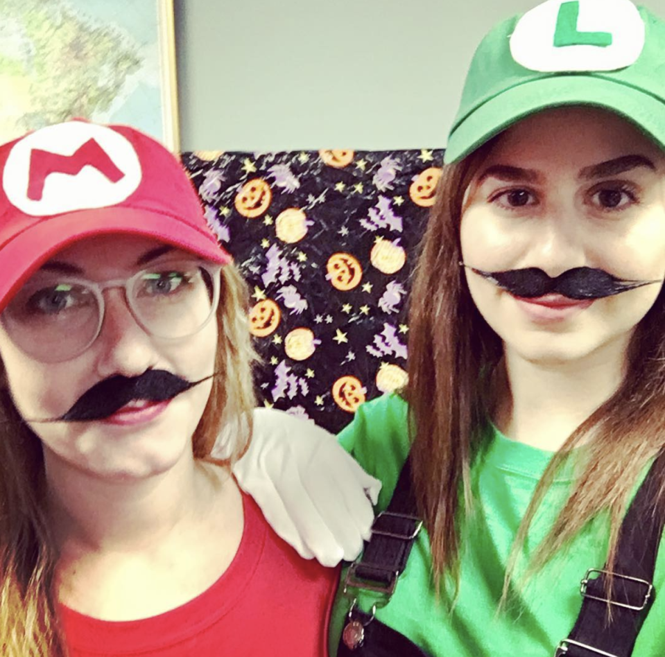 """<p>This classic duo is always fun to dress up as, and it's such an easy DIY costume. You just need a pair of overalls and a green or red hat, plus a letter you can cut out with felt.</p><p><a class=""""link rapid-noclick-resp"""" href=""""https://www.amazon.com/Landisun-Costume-Anime-Unisex-Cosplay/dp/B00NCRBEHG/?tag=syn-yahoo-20&ascsubtag=%5Bartid%7C10072.g.27868790%5Bsrc%7Cyahoo-us"""" rel=""""nofollow noopener"""" target=""""_blank"""" data-ylk=""""slk:Shop Hats"""">Shop Hats</a></p>"""