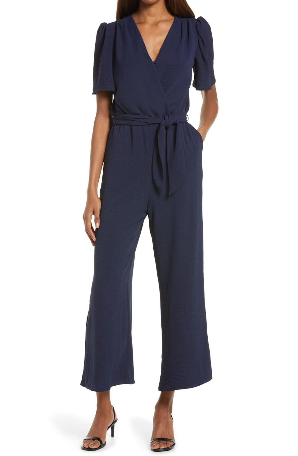 <p>This <span>Fraiche Tie Front Wide Leg Jumpsuit</span> ($105) is perfectly office-ready, but it'll also elegantly transition into afterwork happy hours.</p>