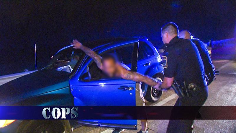 Scene from Cops in which a man is pulled from a car in a violent arrest