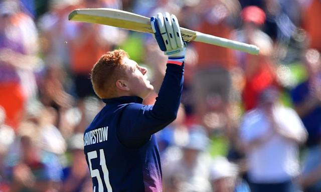 """<span class=""""element-image__caption"""">England's Jonny Bairstow celebrates his century during the absorbing ODI defeat by New Zealand at University Oval in Dunedin.</span> <span class=""""element-image__credit"""">Photograph: Marty Melville/AFP/Getty Images</span>"""