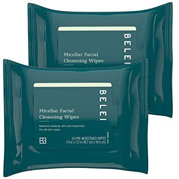 "<h3><strong>Micellar Facial Cleansing Wipes</strong></h3> <br>""Like other <em>Refinery29</em> beauty editors, I'm a big fan of <a href=""https://www.refinery29.com/en-us/best-face-wipes-reviews"" rel=""nofollow noopener"" target=""_blank"" data-ylk=""slk:micellar water wipes"" class=""link rapid-noclick-resp"">micellar water wipes</a>. As someone who is constantly swatching products at my desk and doing last-minute makeup changes in the morning (I'm indecisive when it comes to eyeshadow, okay?), I love a gentler face wipe, and this stuff definitely fits the bill. Plus, it easily removed a near-indestructible red liquid lipstick with minimal residue — the true test of any makeup remover."" — Hoshikawa<br><br><strong>Belei</strong> Oil-Free Micellar Facial Cleansing Wipes (Pack of 2), $, available at <a href=""https://www.amazon.com/Belei-Oil-Free-Micellar-Cleansing-Fragrance/dp/B07K5832N4"" rel=""nofollow noopener"" target=""_blank"" data-ylk=""slk:Amazon"" class=""link rapid-noclick-resp"">Amazon</a><br>"