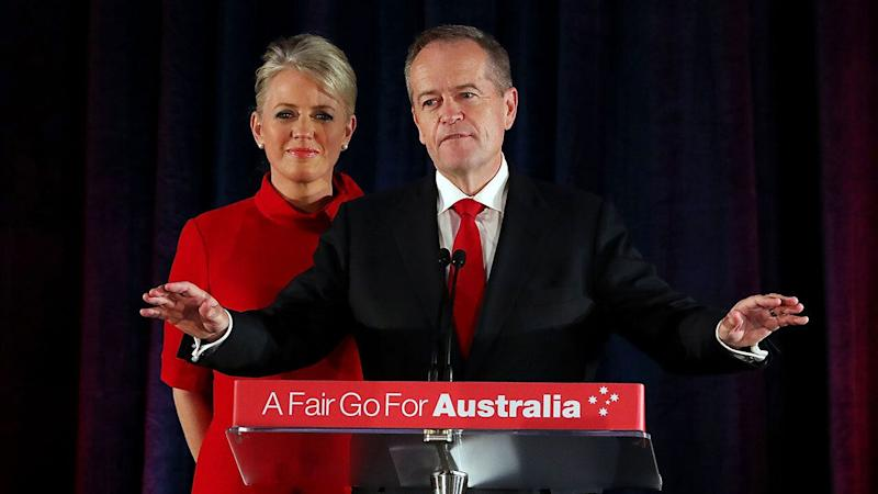 Opposition leader Bill Shorten concedes defeat next to his wife Chloe. Source: AAP