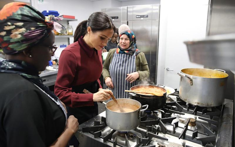 Meghan, Duchess of Sussex at the Hubb Community Kitchen at Al Manaar mosque. It said it had been on the record as 'rejecting and condemning extremism and terrorism' - Getty Images Europe