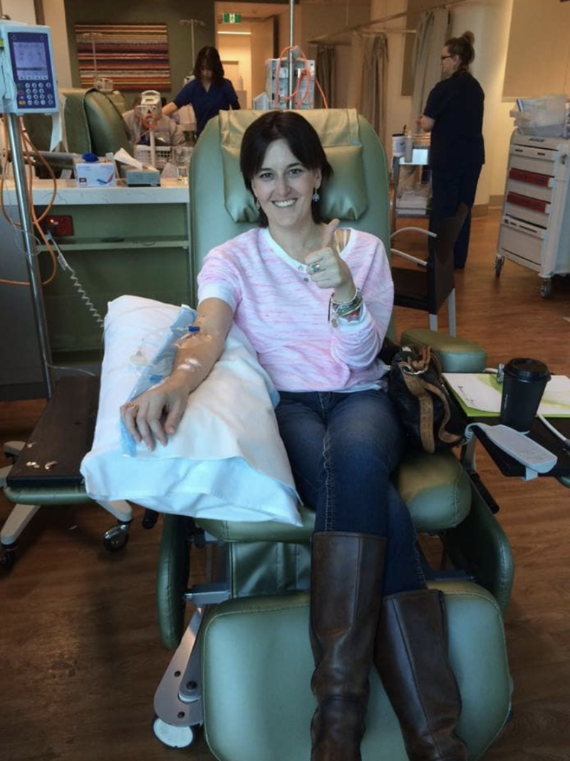Melissa Baker is seen with a drip in her arm during her treatment. Source: Facebook