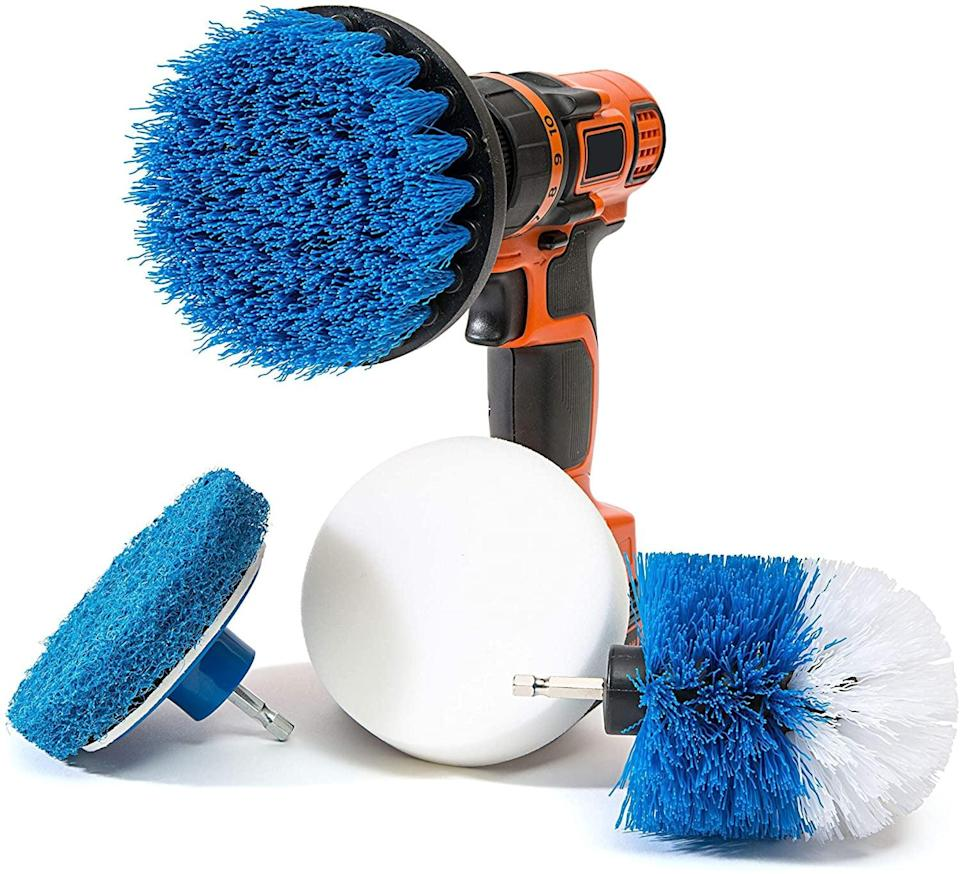 <p>Deep clean your kitchen and bathrooms with the <span>RevoClean 4 Piece Scrub Brush Power Drill Attachments</span> ($15). All you need is a power drill to do the work for you. It comes with a durable round brush, a durable ball brush, a double-sided nylon scrubber brush, and a double-sided soft sponge. </p>