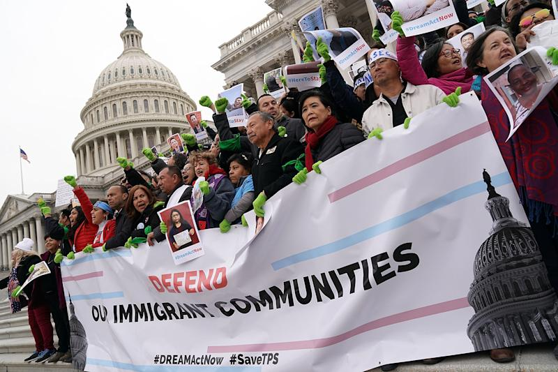 Some immigrant rights advocates rallied on the steps of the Capitol in an act of civil disobedience. (Alex Wong via Getty Images)