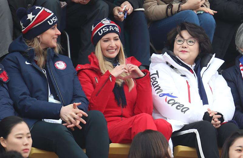 Ivanka Trump, South Korean first lady Kim Jung-sook attend the Men's  Snowboarding Big Air Final at the Alpensia Ski Jumping Centre during day  fifteen of the ...