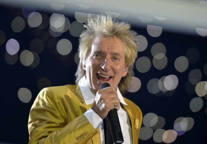 FILE - This Nov. 28, 2015, file photo shows singer Rod Stewart performing in the Esprit Arena in Duesseldorf, western Germany. Many of the rock 'n' roll bands that were huge in 1977 will comprise a big part of the summer concert market 40 years later. Stewart is among those launching major tours this spring and summer. (AP Photo/Martin Meissner, File)