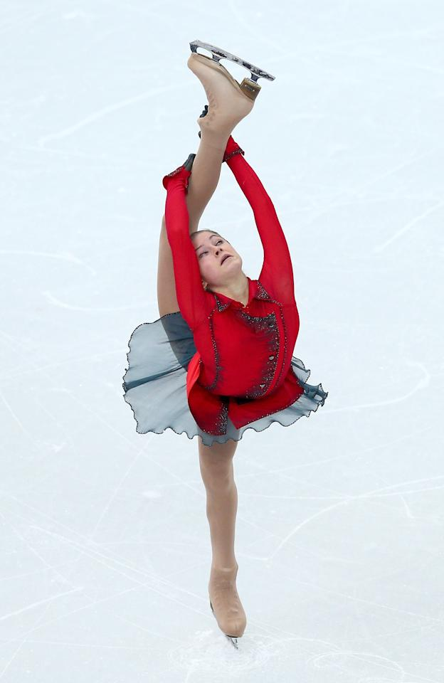 SOCHI, RUSSIA - FEBRUARY 09: Yulia Lipnitskaya of Russia competes in the Team Ladies Free Skating during day two of the Sochi 2014 Winter Olympics at Iceberg Skating Palace onon February 9, 2014 in Sochi, Russia. (Photo by Clive Mason/Getty Images)