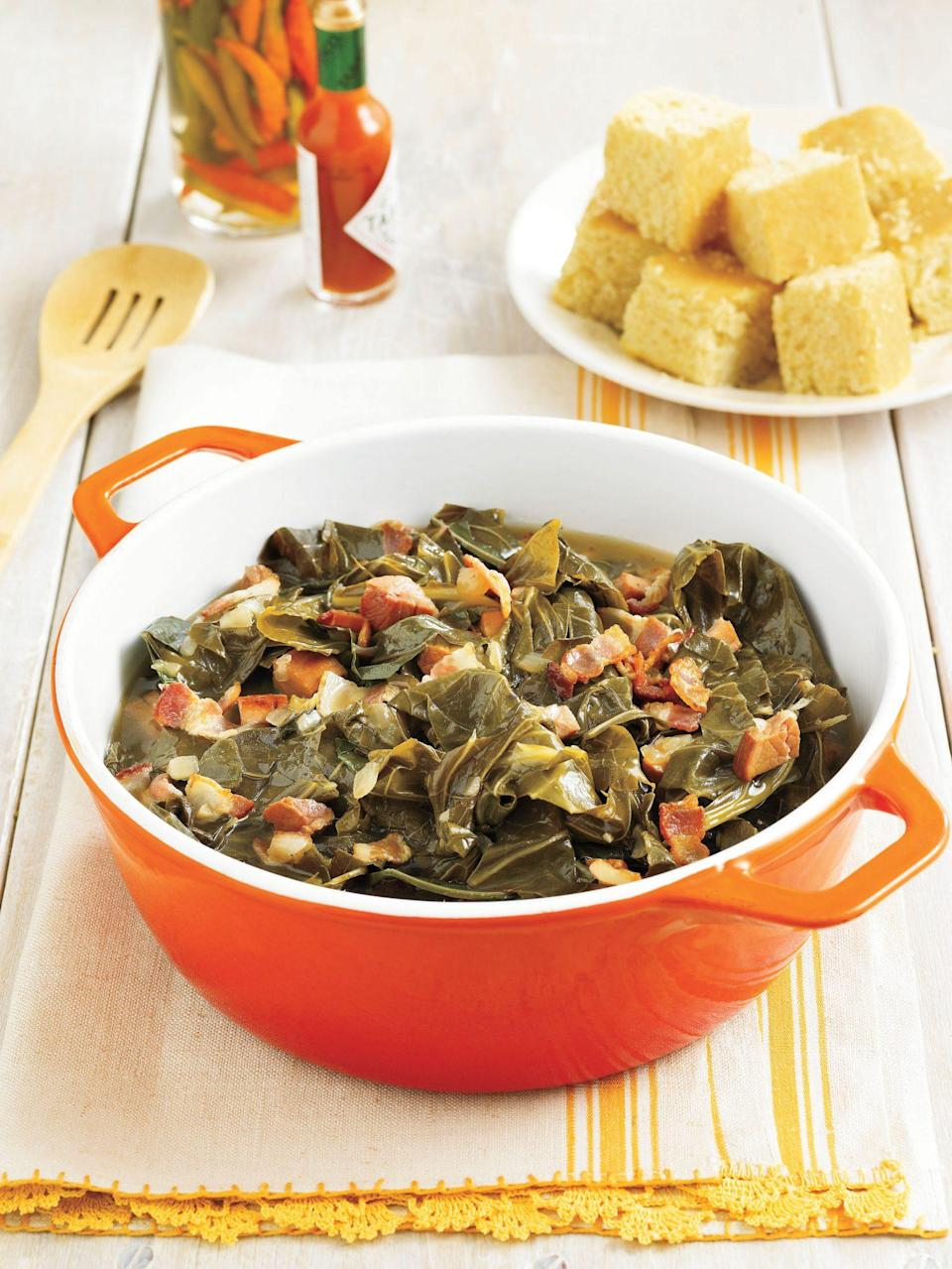 """<p><strong>Recipe:</strong> <a href=""""https://www.southernliving.com/recipes/southern-collard-greens"""" rel=""""nofollow noopener"""" target=""""_blank"""" data-ylk=""""slk:Southern-Style Collard Greens"""" class=""""link rapid-noclick-resp"""">Southern-Style Collard Greens</a></p> <p>If you're really looking to turn your next cookout into a feast, prepare a heaping portion of collards to sneak in something green on guests' plates.</p>"""