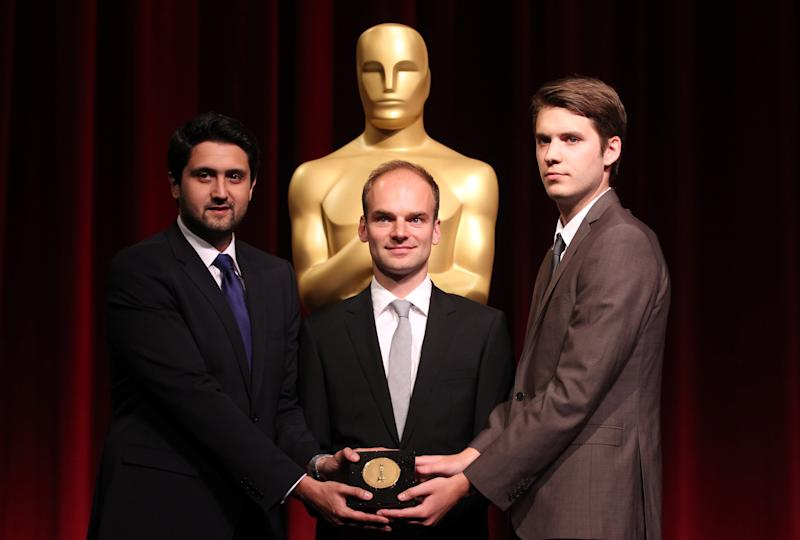 39th Annual Student Academy Awards foreign student film category winners, from left, Elmar Imanov, of Germany, Thomas Stuber, of Germany, and David Winstone, of the United Kingdom, pose at the Academy of Motion Picture Arts and Sciences, Saturday, June 9, 2012, in Beverly Hills, Calif. (Photo by Matt Sayles/Invision/AP)