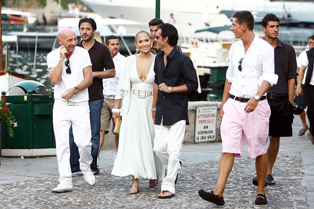 "Jennifer Lopez and husband Marc Anthony vacation in Portofino, Italy, alongside their famous friends: designers Domenico Dolce and Stefano Gabbana. <a href=""http://www.infdaily.com"" target=""new"">INFDaily.com</a> - July 5, 2008"