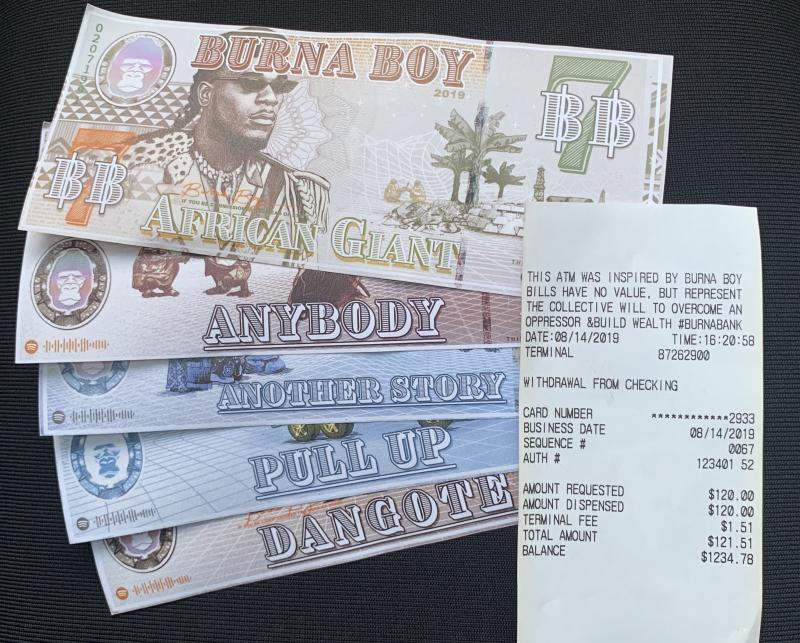"""Burna Bills, designed by Sajjad Mussa, were inspired entirely by the """"African Giant"""" album. (credit: Yahoo Lifestyle)"""