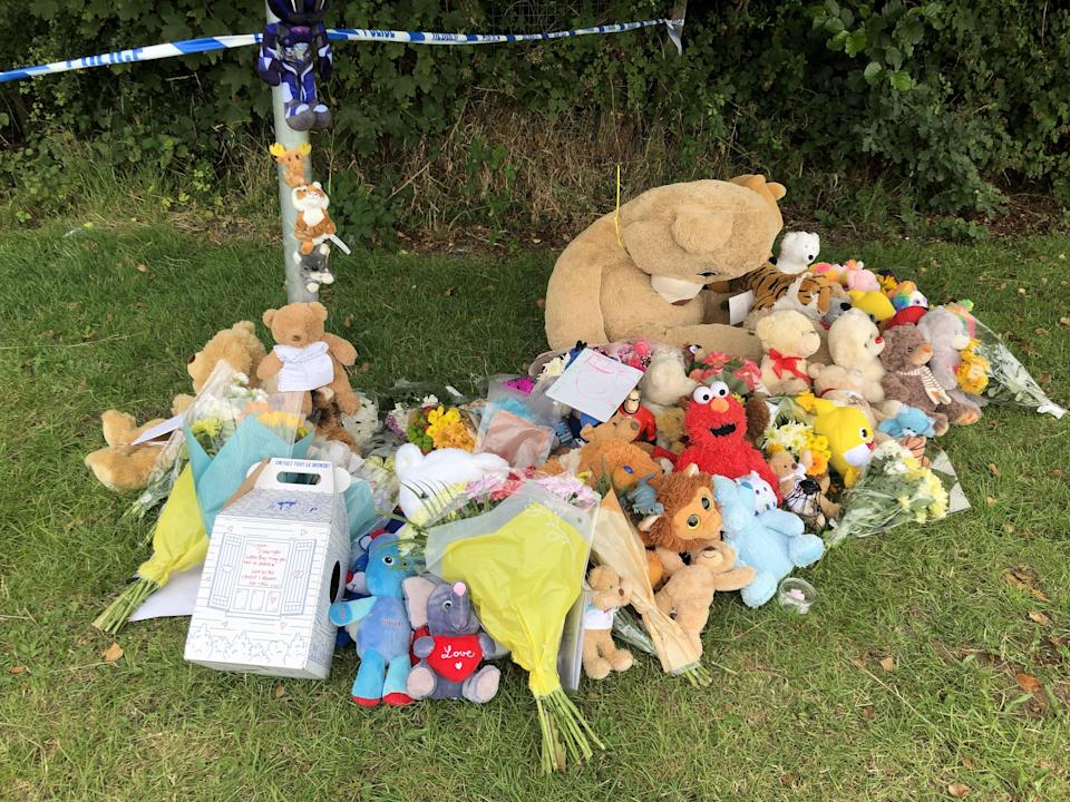 Tributes left in Pandy Park in Bridgend, south Wales (Claire Hayhurst/PA) (PA Wire)
