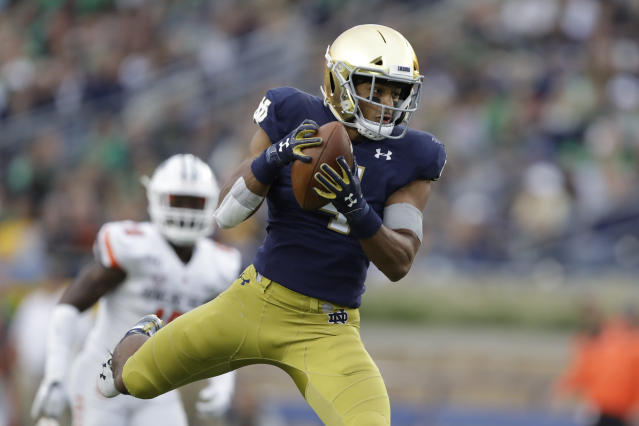 Notre Dame running back Avery Davis (4) makes a catch during the second half of an NCAA college football game against Bowling Green, Saturday, Oct. 5, 2019, in South Bend, Ind. Notre Dame won 52-0. (AP Photo/Darron Cummings)