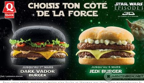 A burger on a black hamburger roll is served to fans of Star Wars' Darth Vader.