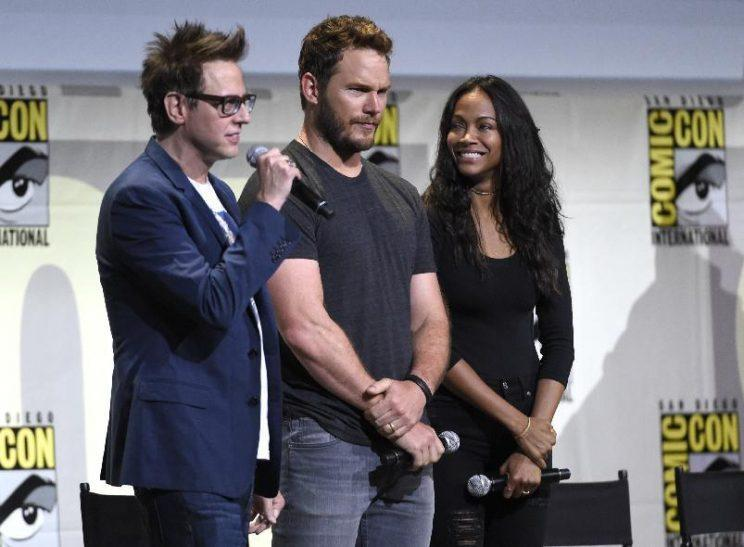 James Gunn, Chris Pratt, and Zoe Saldana at Comic-Con in July (Photo: Chris Pizzello/Invision/AP)