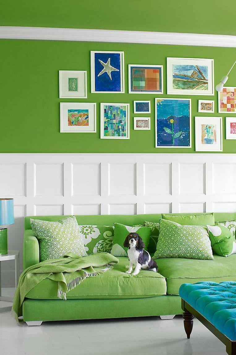 "<p>A mix of white and blue tempers the vibrant green in author <a href=""https://www.elledecor.com/design-decorate/house-interiors/g972/holly-peterson-hamptons-home/?"" rel=""nofollow noopener"" target=""_blank"" data-ylk=""slk:Holly Peterson's Hamptons living room"" class=""link rapid-noclick-resp"">Holly Peterson's Hamptons living room</a>. <br></p>"