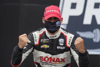 Rinus VeeKay, of the Netherlands, celebrates after winning an IndyCar auto race at Indianapolis Motor Speedway, Saturday, May 15, 2021, in Indianapolis. (AP Photo/Darron Cummings)