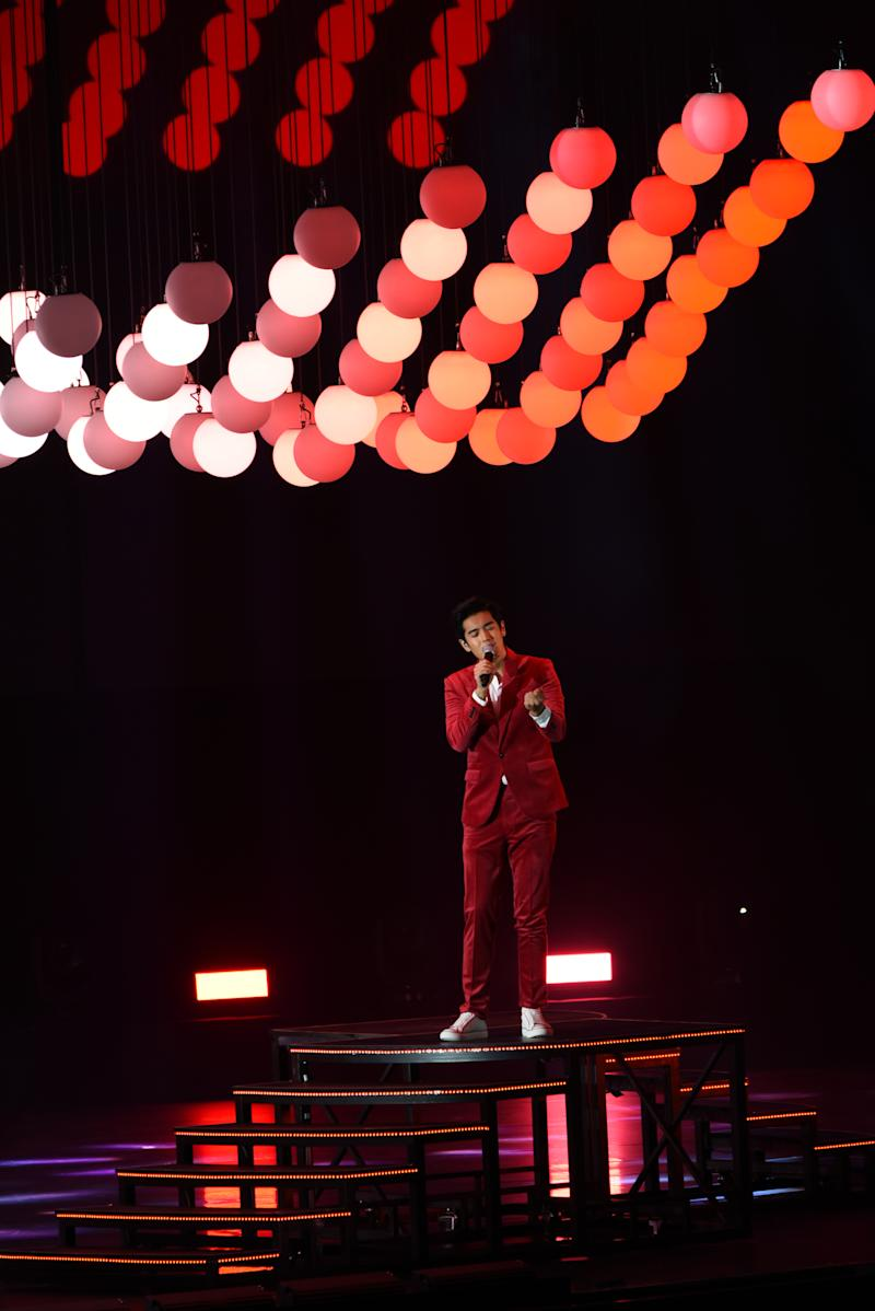 Nathan Hartono performing Everything I Am at a rehearsal for the National Day Parade 2020 Evening Show at the Star Performing Arts Centre. (Photo: NDP2020 Exco)