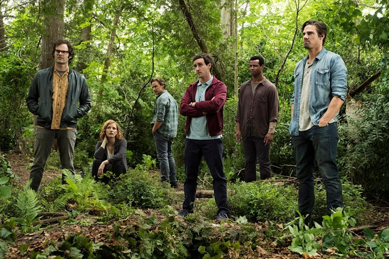 Bill Hader (far left), Jessica Chastain, James McAvoy, James Ransone, Isaiah Mustafa and Jay Ryan star as the grown-up Losers' Club in