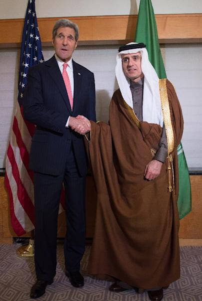 Secretary of State John Kerry meets with Saudi Arabia's Foreign Minister Adel bin Ahmed Al-Jubeir at the New York Palace Hotel in New York on December 17, 2015 (AFP Photo/Bryan Smith )