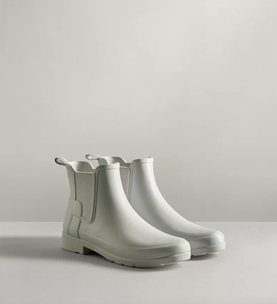 white beige hunter boots Refined Slim Fit Chelsea Boots