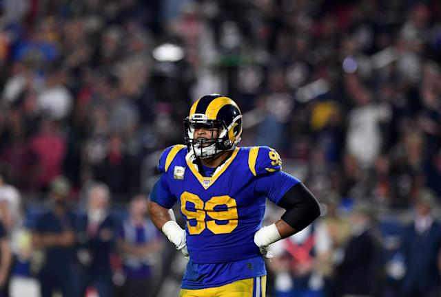 Los Angeles Rams defensive tackle Aaron Donald said he doesn't want to play games without fans in the stands. (Keith Birmingham/MediaNews Group/Pasadena Star-News/Getty Images)
