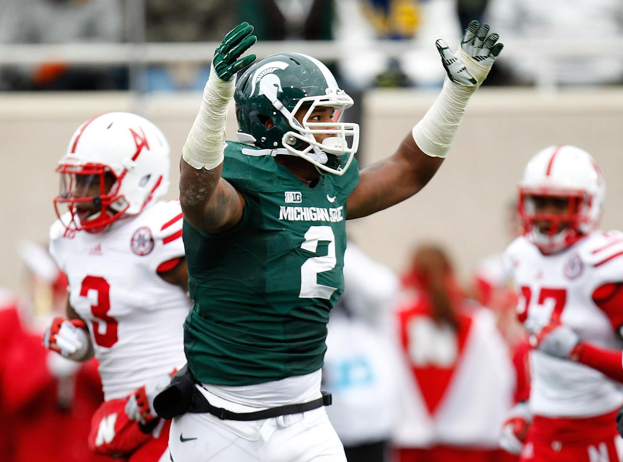 EAST LANSING, MI - NOVEMBER 03: William Gholston #2 of the Michigan State Spartans reacts after a second quarter third down stop while playing the Nebraska Cornhuskers at Spartan Stadium Stadium on November 3, 2012 in East Lansing, Michigan. (Photo by Gregory Shamus/Getty Images)