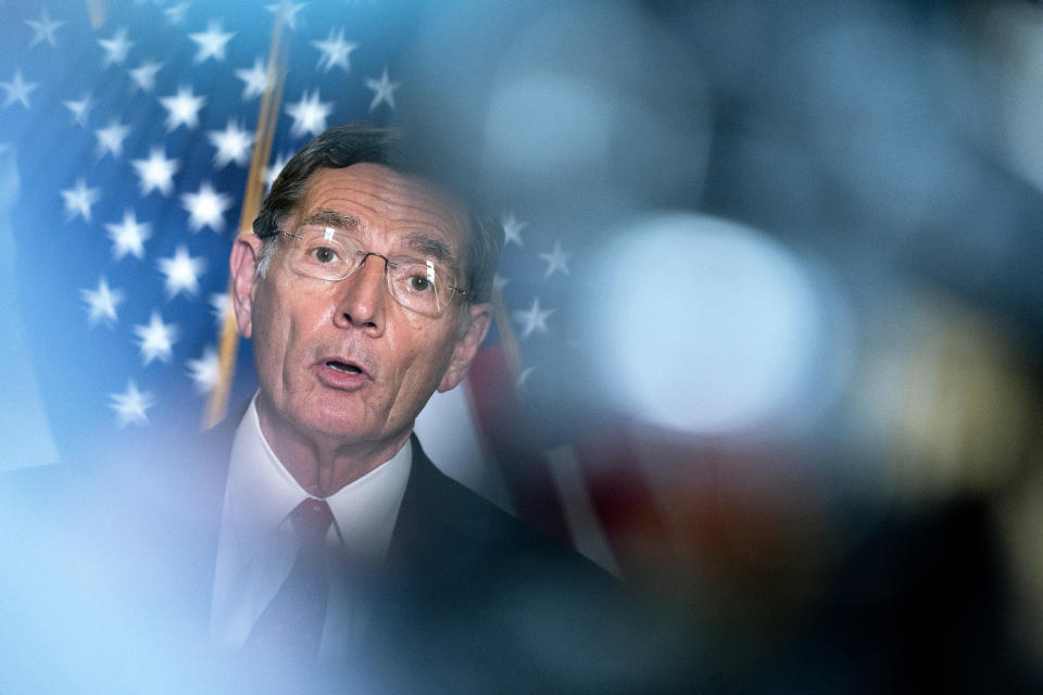U.S. Sen. John Barrasso (R-WY) speaks to reporters following Senate Republican Policy luncheons at the Russell Senate Office Building on Capitol Hill on April 13, 2021 in Washington, DC. (Stefani Reynolds/Getty Images)