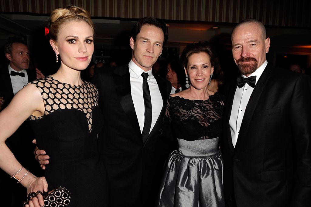 Anna Paquin, Stephen Moyer, Robin Dearden and Bryan Cranston attend the 2013 Vanity Fair Oscar Party hosted by Graydon Carter at Sunset Tower on February 24, 2013 in West Hollywood, California.