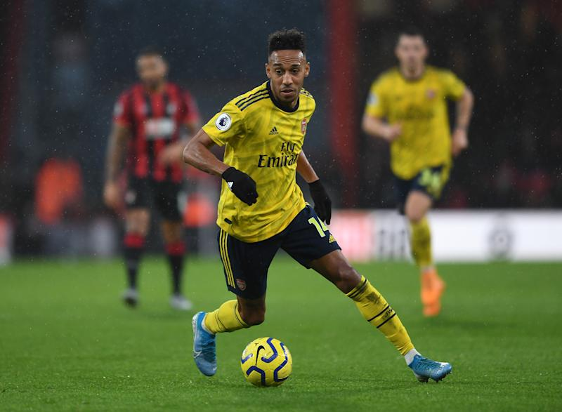 BOURNEMOUTH, ENGLAND - DECEMBER 26: Pierre-Emerick Aubameyang of Arsenal during the Premier League match between AFC Bournemouth and Arsenal FC at Vitality Stadium on December 26, 2019 in Bournemouth, United Kingdom. (Photo by David Price/Arsenal FC via Getty Images)