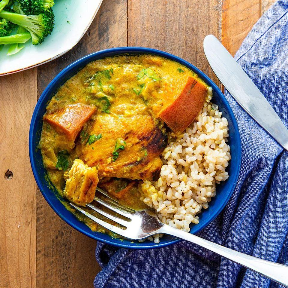 """<p>This chicken and sweet potato <a href=""""https://www.delish.com/uk/curry-recipes"""" rel=""""nofollow noopener"""" target=""""_blank"""" data-ylk=""""slk:curry"""" class=""""link rapid-noclick-resp"""">curry</a> is absolute comfort food goals. Thanks to the spices, it's gorgeously fragrant, and the addition of coconut milk makes it creamy.</p><p>Get the <a href=""""https://www.delish.com/uk/cooking/recipes/a30146742/chicken-sweet-potato-curry/"""" rel=""""nofollow noopener"""" target=""""_blank"""" data-ylk=""""slk:Chicken and Sweet Potato Curry"""" class=""""link rapid-noclick-resp"""">Chicken and Sweet Potato Curry</a> recipe.</p>"""