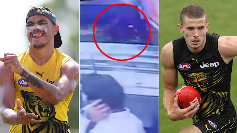 Pictured here, the CCTV footage that captured the brawl involving two Richmond AFL players.