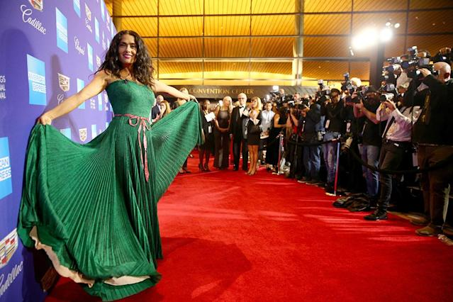 <p>The gorgeous actress was a green goddess who dazzled the paparazzi in a flowing emerald gown at the 29th Annual Palm Springs International Film Festival Awards Gala on Tuesday. (Photo: Rich Fury/Getty Images for Palm Springs International Film Festival ) </p>