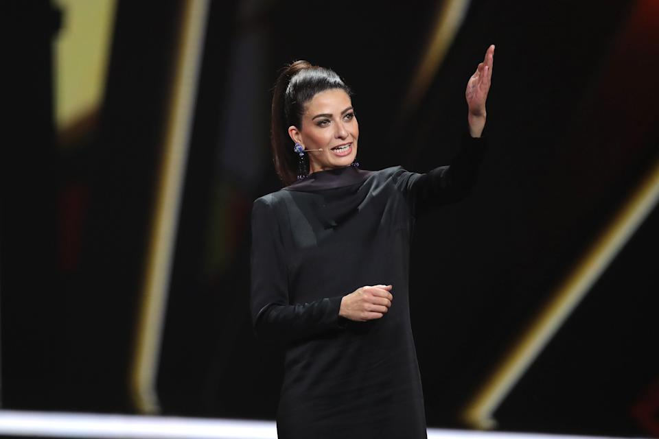 BADEN-BADEN, GERMANY - NOVEMBER 21:  Linda Zervakis speaks on stage during the 71st Bambi Awards show at Festspielhaus Baden-Baden on November 21, 2019 in Baden-Baden, Germany. (Photo by Andreas Rentz/Getty Images)