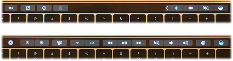 The Touch Bar replaces the F-keys.