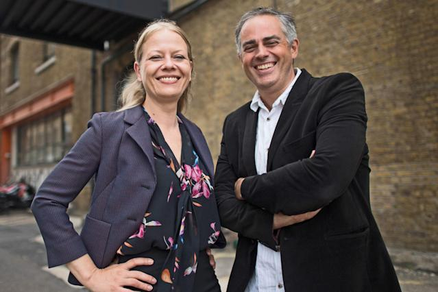 Sian Berry and Jonathan Bartley outside their party's headquarters in south east London following the Green Party leadership election result. (Photo by Stefan Rousseau/PA Images via Getty Images)
