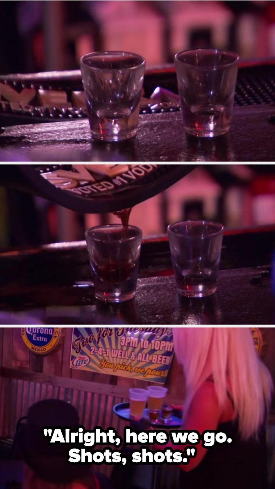 A woman pouring spilt liquor from a bar spill mat into shot glasses and serving them to her friends