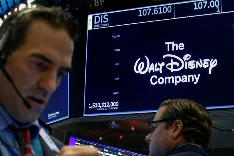 Traders work at the post where Walt Disney Co. stock is traded on the floor of the NYSE in New York
